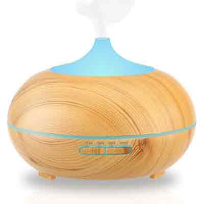 URPOWER Aromatherapy Essential Oil Diffuser 300ml Wood Grain Ultrasonic Cool Mist Whisper