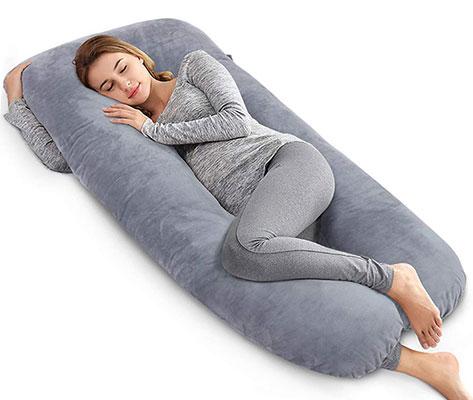 AngQi Unique U Shaped Pregnancy Body Pillow, Gray