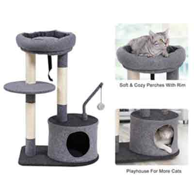 Cat Tree with Sisal-Covered Scratching Posts
