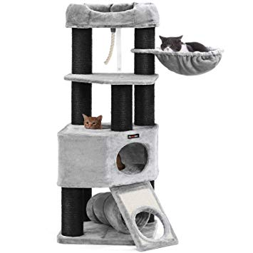 Cat Tower with XXL Plush Perch, Basket Lounger Cat Condo with Adjustable Units