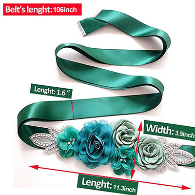 Maternity Sash Belt with Flowers for Photography (Green)