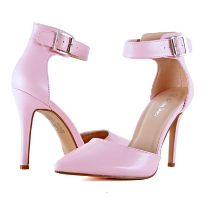 Guilty Heart Womens D'Orsay High Heel Pointed Toe Ankle Strap Dress