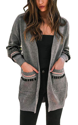Hibluco women's Patchwork long sleeve cardigan