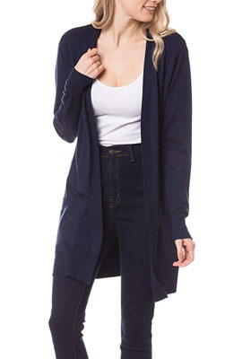 Womens lightweight open front long cardigan with pockets
