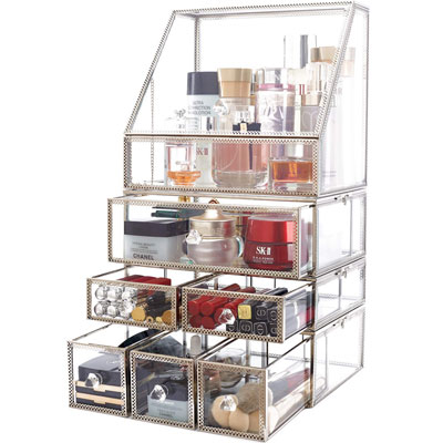 minopigo Antique Spacious Mirror Glass Drawers Set/Metal Cosmetic Makeup Storage