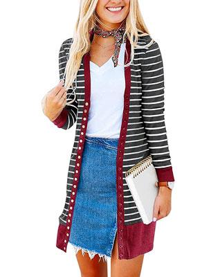Twinklady Women's Strip Long Sweater Pocket