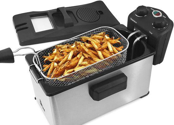 9. Elite Gourmet 3.5 Quart EDF-3500 Triple Basket Stainless Steel Electric Deep Fryer w/Temp Knob