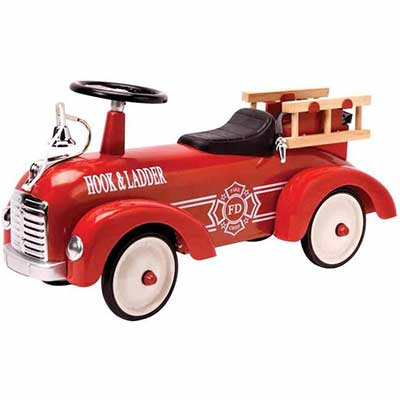 9. Schylling Metal Speedster Battery Powered Fire Truck