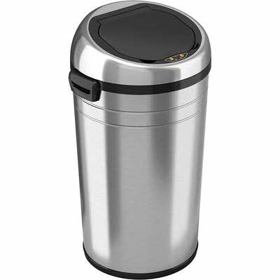 #1. iTouchless Brushed Stainless Steel 87Liter Automatic Touchless Sensor Garbage Bin