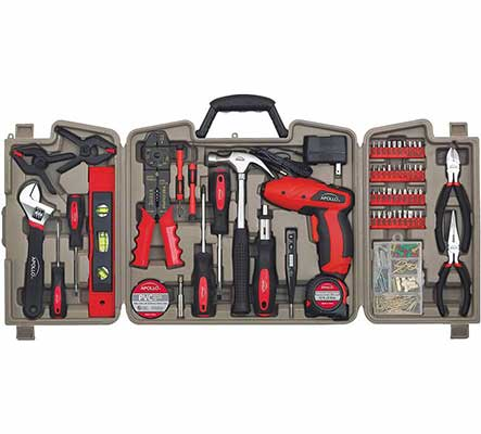#2. Apollo Tools DT0738 161-Pcs Household Tool Kit w/4.8V Cordless Hand Tools & DIY Accessories