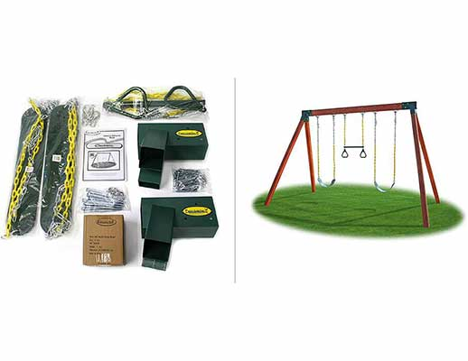 #5. Eastern Jungle Gym Swing Seats Ring Trapeze Bar & Instructions DIY Swing Set Hardware Kit