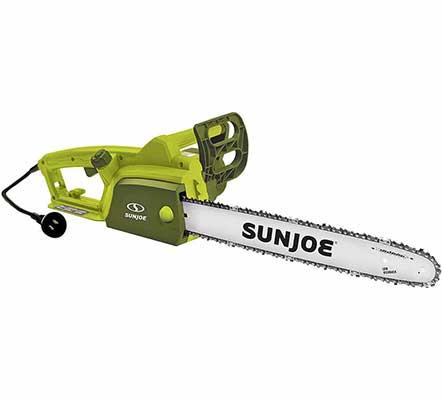 #10. Sun Joe 18 Inch SWJ701E 14.0 Amp Electric Chainsaw w/Kickback Safety Brake