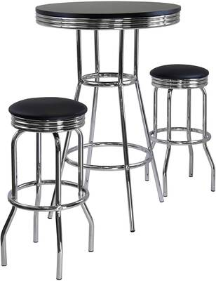 #10. Winsome 3-Piece Easy Assembly 2-Swivel Stool Set Summit Round Retro Pub Table