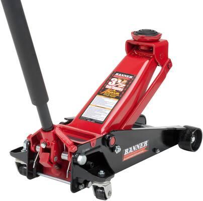 8. BLACKHAWK B6350 3.5 Ton Capacity Swivel Saddle Fast Lift Service Jack (Red/Black)