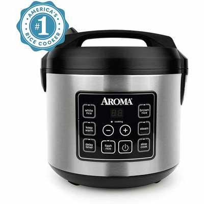 10. Aroma Housewares 20-Cup Digital Rice Cooker, Black