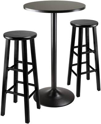 #5. Winsome Sleek & Stylish Counter Height Table Obsidian Pub Table Set (Black)