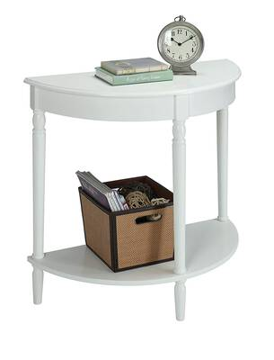 #10. Convenience Concepts with Bottom Shelf French Country Entryway Sideboard Table (White)