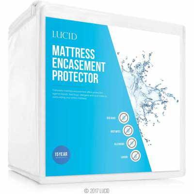 4. LUCID Encasement Allergen Proof Waterproof Mattress Protector- Queen Size