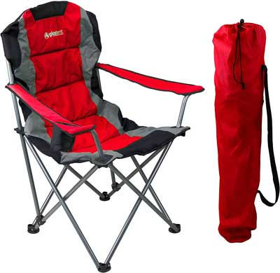 #8. Giga Tent Ultra-Lightweight Full Back & Arm Rest Coated Steel Frame Folding Camping Chair (Red)