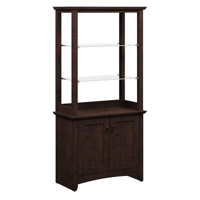 #8. Bush Furniture Buena Vista 2-Adjustable Clear Glass Shelves Tall Library Sideboard Cabinet with Doors