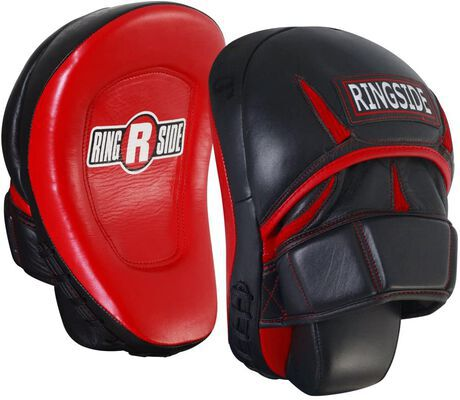 2. Ringside One-Size Leather Pro Panther Unisex MMA Punch Mitts (Red/Black)
