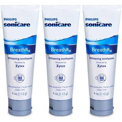 #6. BreathRx 3 Pack 4-Ounce Tubes Family Size Whitening Toothpaste