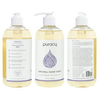 #5. Puracy 12 Oz. Rich Lather No-Sulfates Lavender & Vanilla Moisturizing Natural Liquid Hand Soap