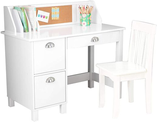2. Kidcraft Study Wooden Kids Table and Chairs Set with Bulletin Board and Cabinets