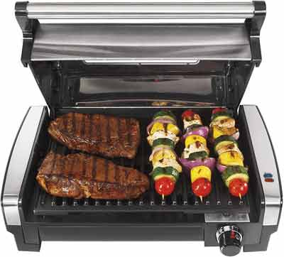 #2. Hamilton Beach Viewing Window Removable Non-stick Plate Electric Outdoor Searing Grill