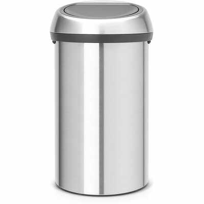 #4. Brabantia 484506 Fingerprint-Proof Matte Steel 16Gallon/60Liter Touch Trash Can