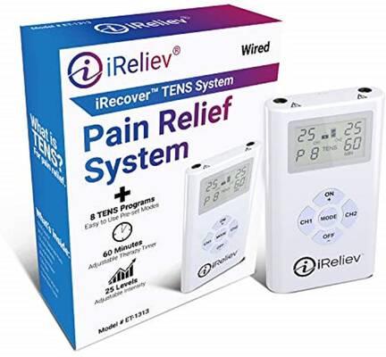#2. iReliev 8 Electrodes Pain Relief Bundle TENS Unit Effective Electronic Pulse Massager