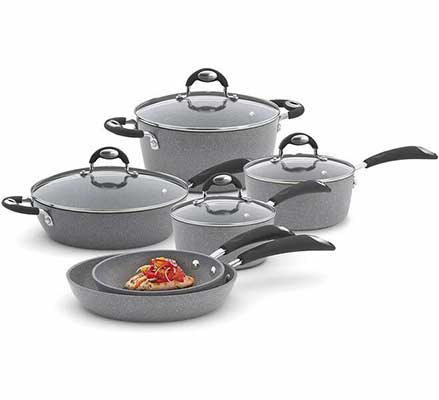 #9. Bialetti 10 Piece Nonstick Granito Cookware Set, Oven safe- Gray