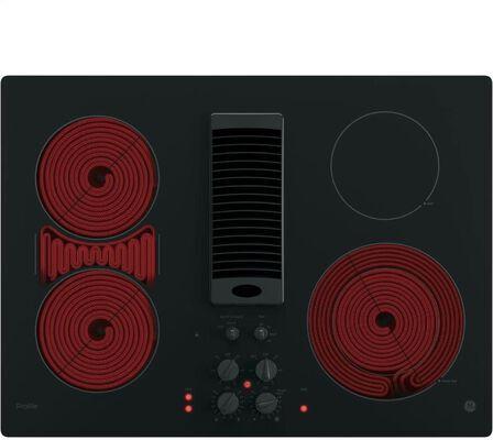 1. GE PP9830DJBB 30Inch Black 3-Speed Downdraft Glass Electric Cooktop w/4 Burners