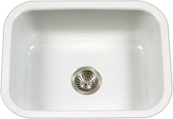 7. HOUZER PCS-2500 White Under Mount Enamel Steel WH Porcela Series Single Bowl Kitchen Sink