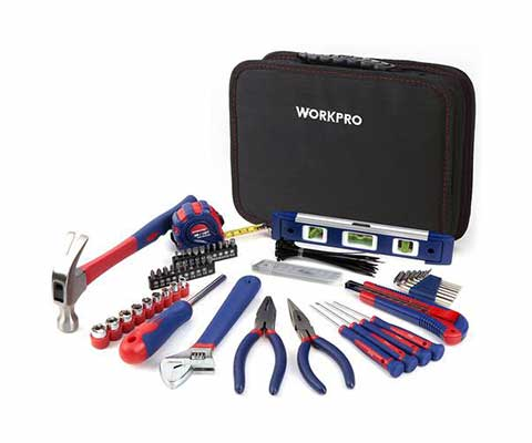 #3. WORKPRO 100-Pcs Portable Kitchen Drawer Home Repair Tool Kit w/Easy to Carry Pouch