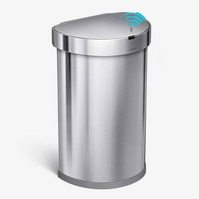 #3. Simplehuman 45 Liter Semi-Round Automatic Brushed Stainless Steel Sensor Trash Can