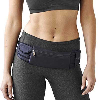 #9. Mind & Body Experts Adjustable Water-Resistant Travel/Running Waist Fanny Pack (Black)