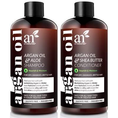 #4. Artnaturals 2 16 Fl. Oz. Infused w/Keratin Organic Moroccan Argan Oil Shampoo & Conditioner Set
