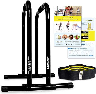 1. Lebert Equalizer Strengthening Fitness Dip Bar Training Station with Workout Guide