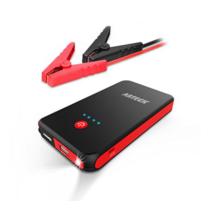 2. Arteck Jump Starter with Clamps and an LED Flashlight