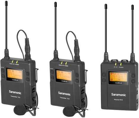1. Saramonic UHF Lapel 96-Channel Wireless lavalier Camera Microphone System for Camcorder