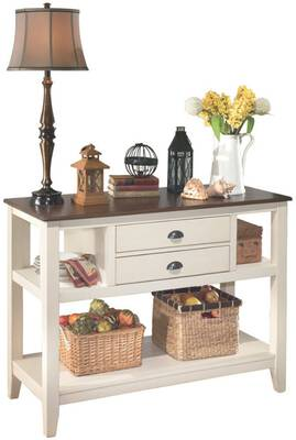 #2. Ashley Furniture Signature Design 2 Drawers & 2 Cubbies Dining Room Server (Brown/ White)