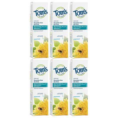#1. Tom's of Maine 6 Pack Natural Botanically Whitening Toothpaste