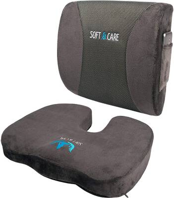 #2. SoftCare Set of 2 Coccyx Orthopedic Memory Foam & Lumbar Support Pillow (Dark Grey)