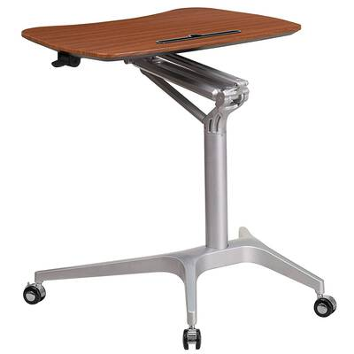 #5. Flash Furniture Stand-Up Mobile Sit-Down Mahogany Computer Ergonomic Desk (NAN-IP-10-GG)