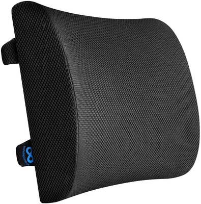 #10. Everlasting Comfort Pure Memory Foam Lumbar Pillow for Office Chair & Car (Black)