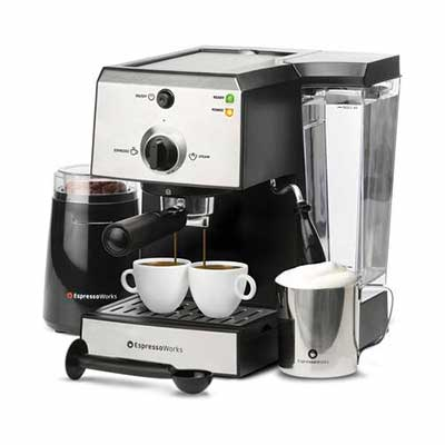 9. EspressoWorks Stainless Steel All-in-One 7Pc Espresso Machine & Cappuccino Maker (Silver)