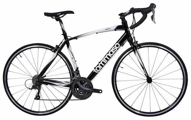 #3. Tommaso 24 Speeds Shimano Claris R2000 Aluminum Road Bike (Black, White & Burnt Orange)
