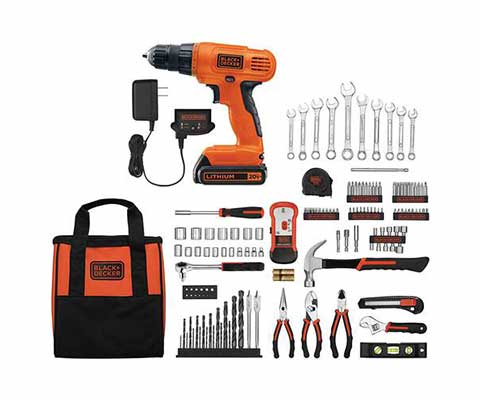 #9. Black&Decker Cordless Drill Lithium Ion Battery 128-Pcs Extensive Home Tool Kit