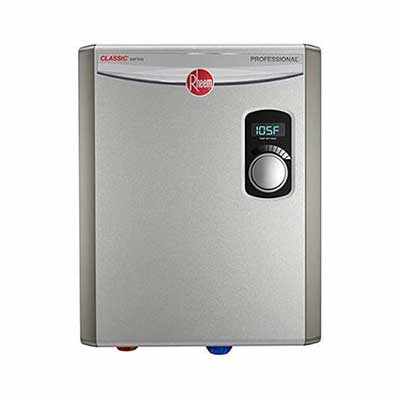 #3. Rheem 240V RTEX-18 Small 2 Heating Chambers Residential Tankless Water Heater (Grey)